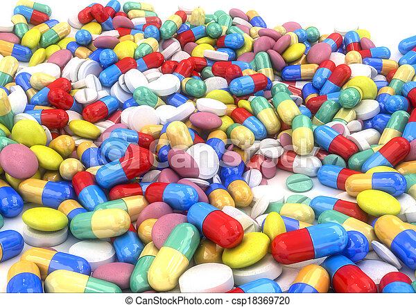 gesetzt, a2@300dpi, kapseln, pillen, tisch - csp18369720