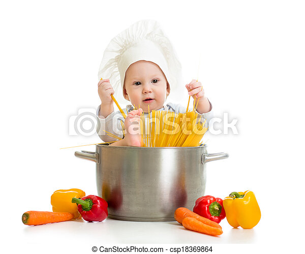 cook baby sitting inside pan with pasta and healthy food - csp18369864
