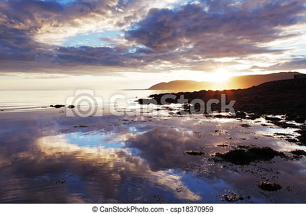 Sea sunset in Iceland - csp18370959