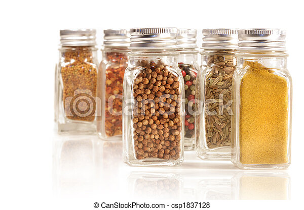 Assorted spice jars isolated on white - csp1837128