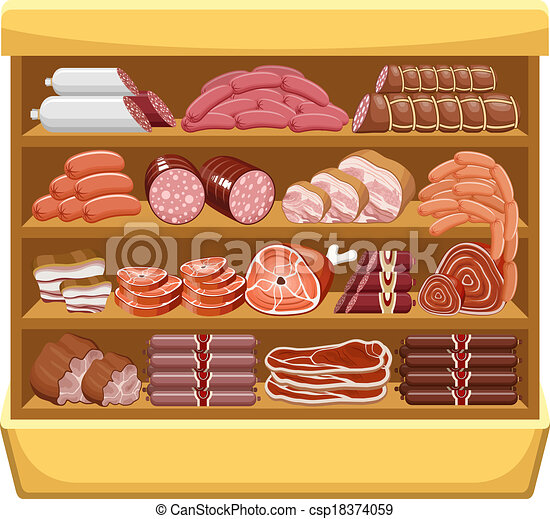 Clipart Vector Of Meat Market Vector Csp18374059 Search