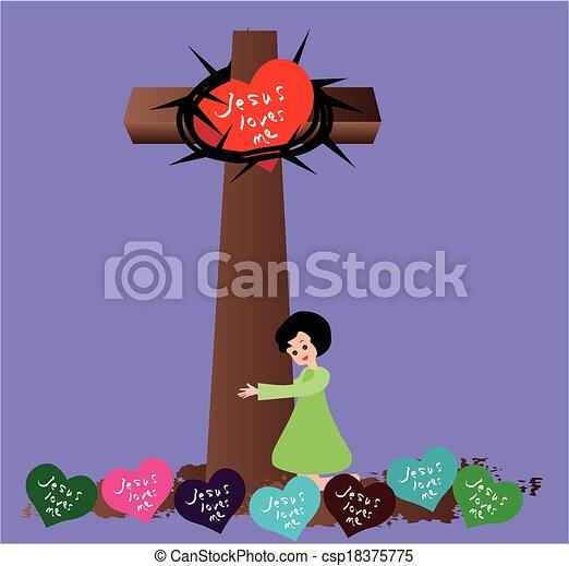 Vectors Illustration of Jesus Loves Me - Jesus loves me this i know ...