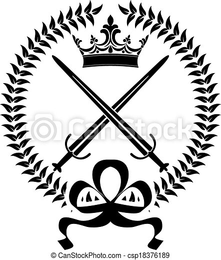 Black and white vector design element of a royal emblem with crossed ...