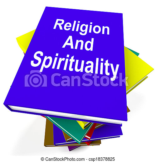 Religion And Spirituality Book Stack Showing Religious Spiritual Books - csp18378825