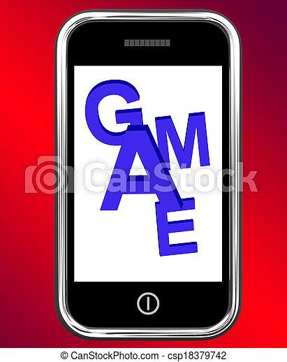 Game On Phone Shows Online Gaming Or Gambling - csp18379742