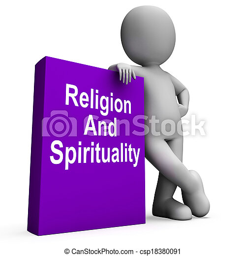 Religion And Spirituality Book With Character Showing Religious Spiritual Books - csp18380091