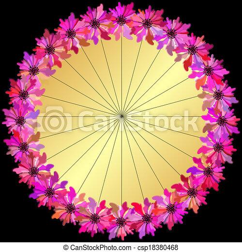 Gold round floral frame - csp18380468