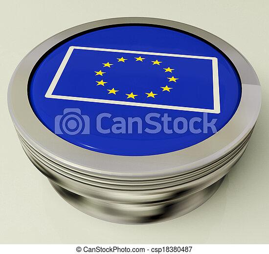 European Union Flag Button Shows Government Of Europe - csp18380487