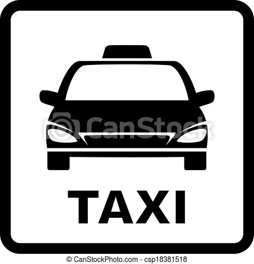 vector clip art of black sign with taxi car on white