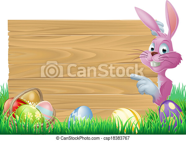 Pink Easter eggs sign Easter bunny - csp18383767