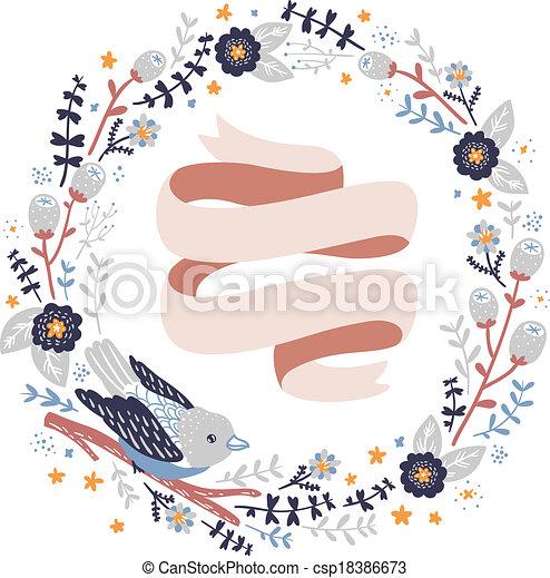 vecteur dcoratif fleurs oiseau couronne