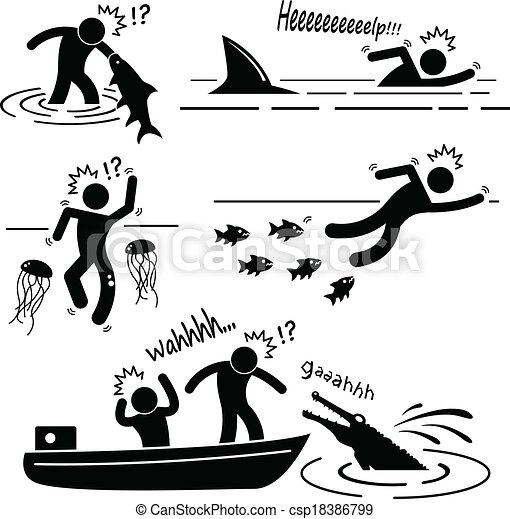 Sea River Animal Attacking Human - csp18386799