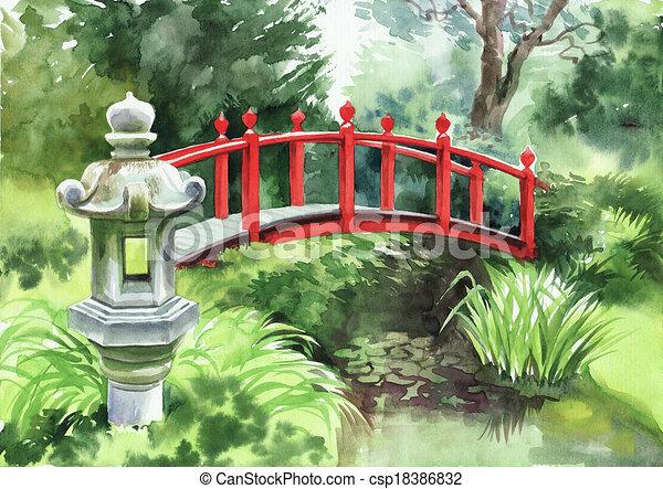 japanese garden bridge drawing