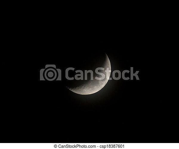 Waxing Crescent Moon in Mist