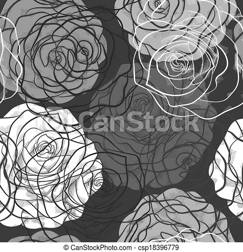 beautiful seamless pattern with roses  in a hand-drawn graphic style in black-white colors - csp18396779