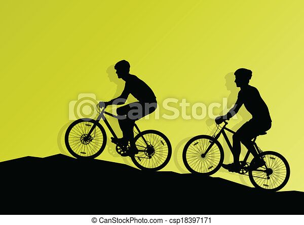 Active cyclist bicycle rider background illustration vector - csp18397171