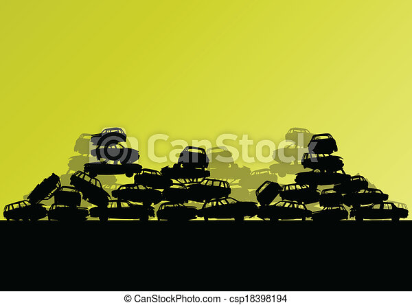 Old used automobile cars metal scrapyard graveyard landscape in industrial metal recyclable ecology concept vector background illustration - csp18398194