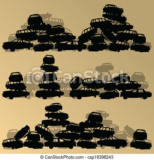 Old used automobile cars metal scrapyard graveyard landscape in industrial metal recyclable ecology concept vector background illustration - csp18398243