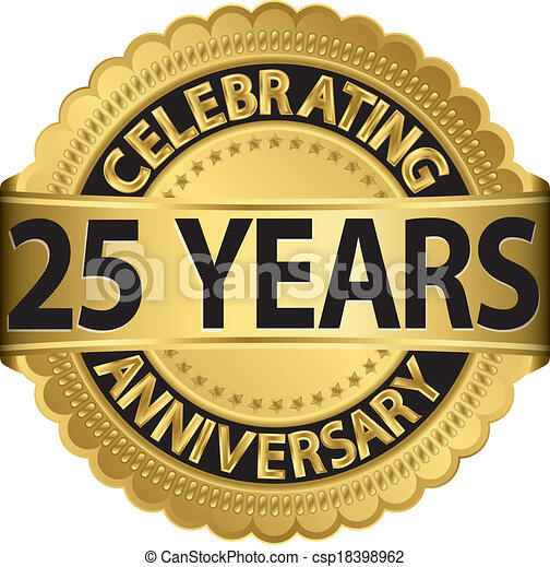 clip art vector of celebrating 25 years anniversary golden 25 Year Wedding Anniversary Clip Art 15 Year Anniversary Clip Art