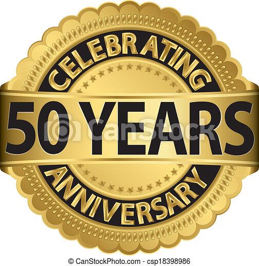 Vector of Celebrating 50 years anniversary golden label ...