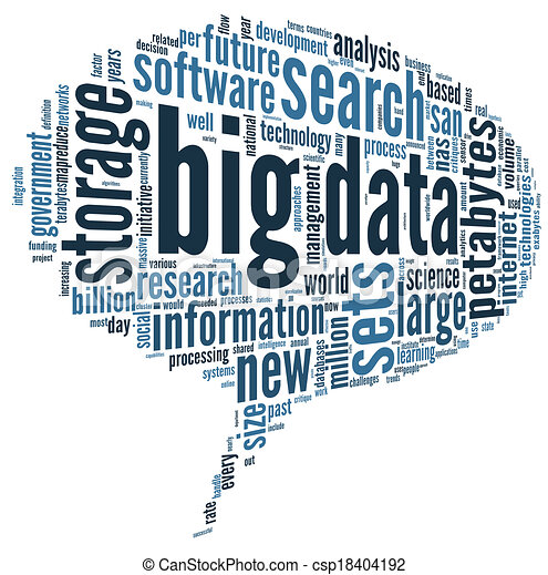 Big data concept in word cloud - csp18404192