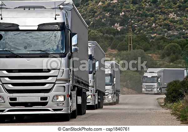 argent, camions, Convoi - csp1840761