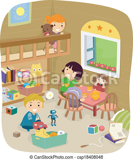 EPS Vector Of Play Room Illustration A Group Kids