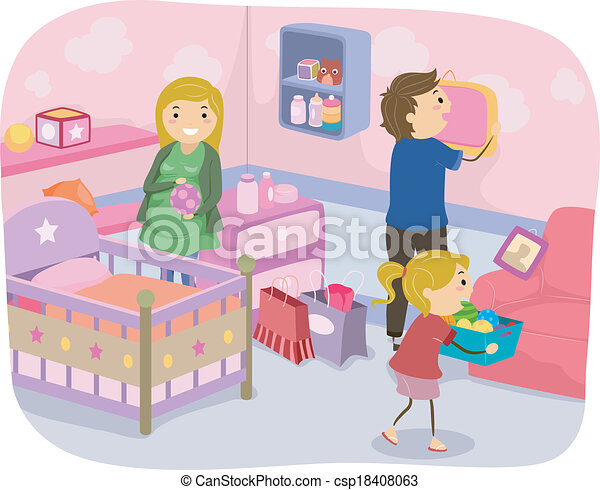 clip art vector of family nursery decoration - illustration of a