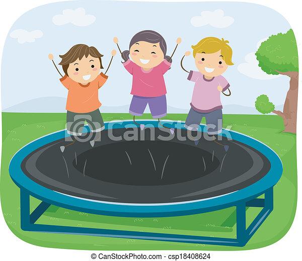 vektor illustration von trampolin kinder abbildung von kinder springen auf. Black Bedroom Furniture Sets. Home Design Ideas