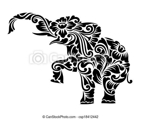 gentil, Éléphant, floral, Ornement, décoration, vecteur, Éléphant ...