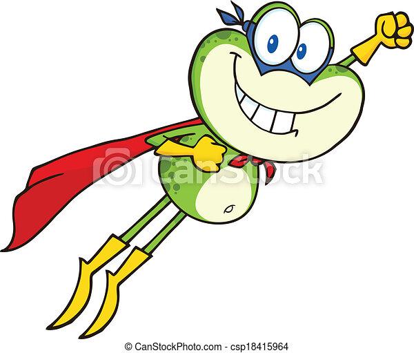 Flying Frog Drawing Frog Superhero Flying