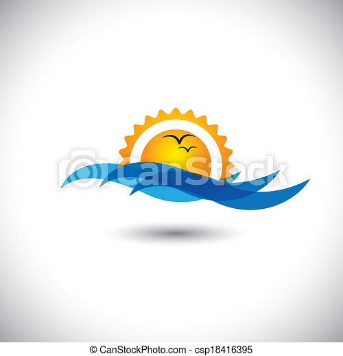 ocean concept vector - beautiful morning sunrise, waves & birds - csp18416395