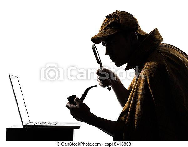 sherlock holmes laptop computer silhouette - csp18416833