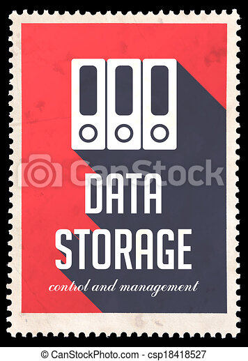 Data Storage on Red in Flat Design. - csp18418527