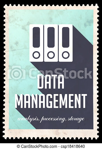 Data Management on Blue in Flat Design. - csp18418640