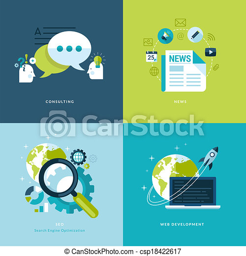 Vector Clip Art of Flat icons for web services - Set of flat ...