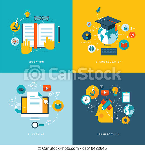 Flat concept icons for education - csp18422645