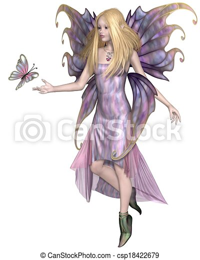 Stock Illustrations of Purple Fairy with Butterfly - Pretty blonde ...
