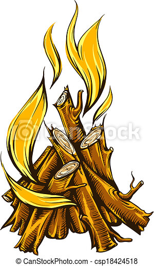 clip art vecteur de br ler bois br ler flamme feu camp flame br ler de csp18424518. Black Bedroom Furniture Sets. Home Design Ideas