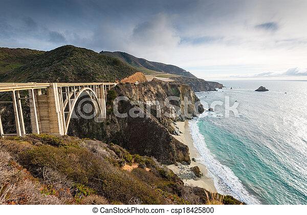 The Historic Bixby Bridge.  Pacific Coast Highway California - csp18425800