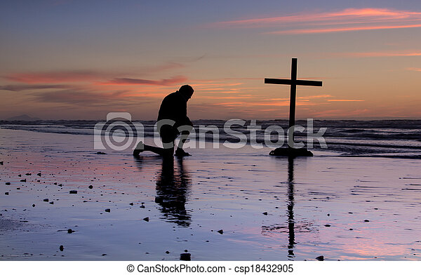 Sunset Beach Prayer Cross - csp18432905