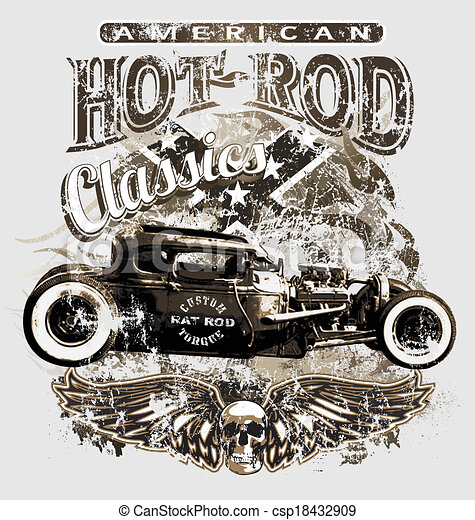 Vector clipart of american custom rod classic hot rod for American custom classics