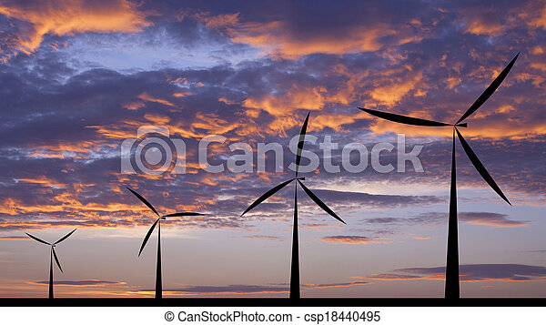 Wind turbine silhouette sunset or sunrise economic system background - csp18440495
