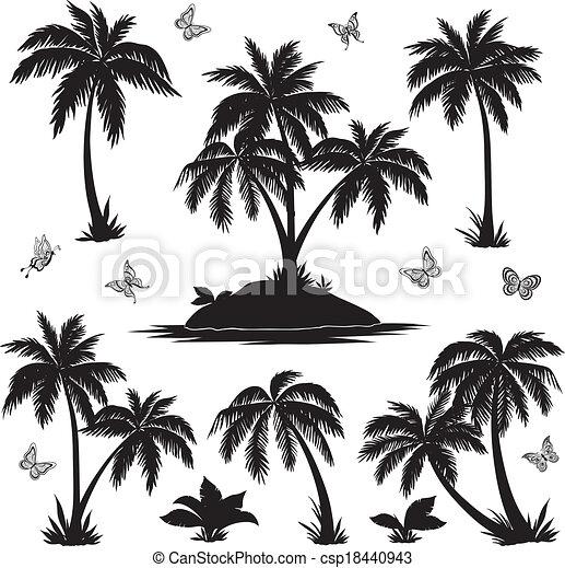 Vettore eps di tropicale farfalle silhouette palme for Piani di piantagione hawaiana
