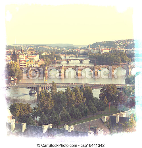Prague, view of the Vltava River and bridges in a morning fog - csp18441342