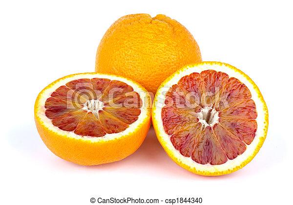 Blood (red-pulp Malta) orange and halves - csp1844340