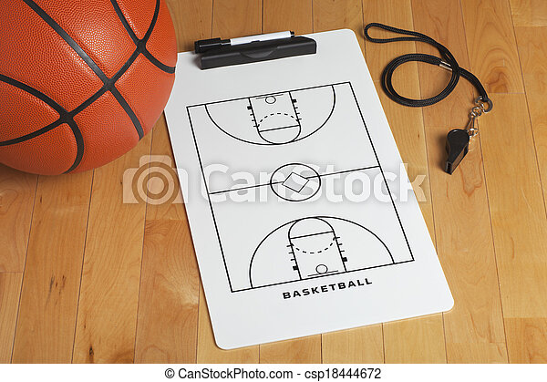 A basketball with coach\'s clipboard and whistle on a wooden gymnasium floor