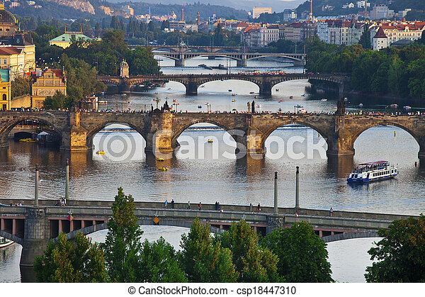 Beautiful bridges above Vltava, Prague - csp18447310