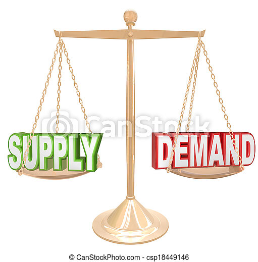 Supply and Demand Balance Scale Economics Principles Law - csp18449146