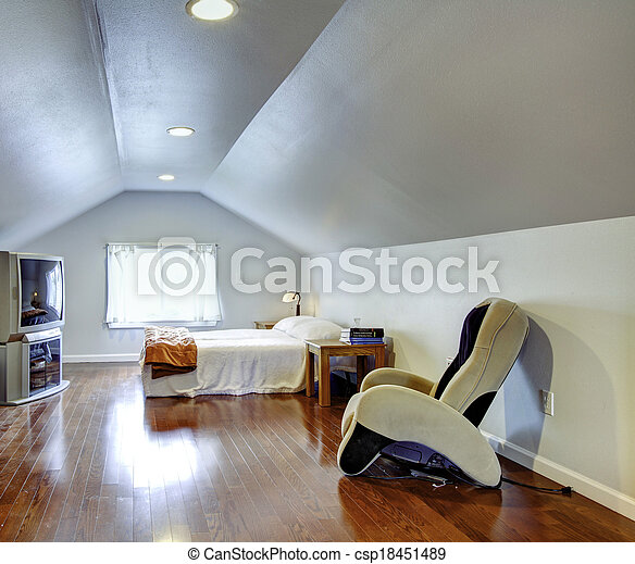 licht, blauwe, laag, gewelfd, plafond, slaapkamer, loofhout, vloer ...